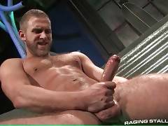 Tough brunette guy likes to watch his friend jerking.