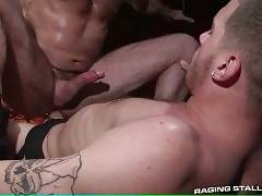 Jake lowers his ass onto the massive stiff tower that is Ty`s cock.