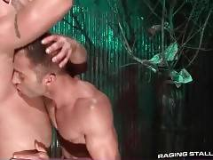 Two turned on muscled dudes are making awesome love.