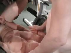 Three turned on tough guys are making hot love in gym.